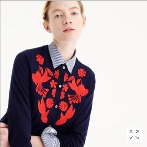 J. Crew NWT embroidered wool cardigan XL